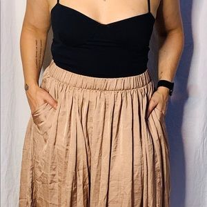 Philosophy silky champagne pleated skirt